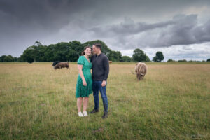 Pre wedding shoot at Rodborough Common in Stroud in the rain